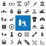 Fije de iconos del vector en dise?o plano con el elemento 36 stock de ilustración