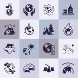 Fije de iconos del vector en el tema de la ecología, el calentamiento del planeta y problemas de la ecología de nuestro planeta e ilustración del vector
