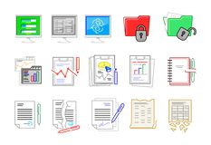 Fije de iconos en las líneas en el tema de las finanzas fotografía de archivo libre de regalías