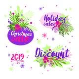 Fije de iconos de las ventas de la Navidad Etiqueta del vector de la oferta especial Diseño del cartel del mercado de la tienda E stock de ilustración