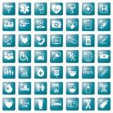 Fije de iconos médicos en los botones coloreados azules cuadrados, medicina de los elementos del diseño web imagenes de archivo