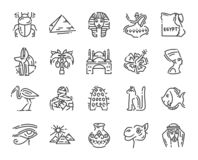 Fije de 20 iconos planos de cultura de Egipto, elementos del diseño aislados en el blanco para el sitio web libre illustration