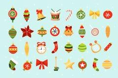 Fije de iconos retros de las decoraciones de la Navidad ilustración del vector