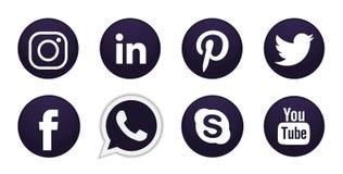 Fije de iconos sociales populares de los logotipos de los medios en vector negro del elemento de Instagram Facebook Twitter YouTu stock de ilustración