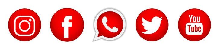 Fije de iconos sociales populares de los logotipos de los medios en vector rojo del elemento de Instagram Facebook Twitter YouTub libre illustration