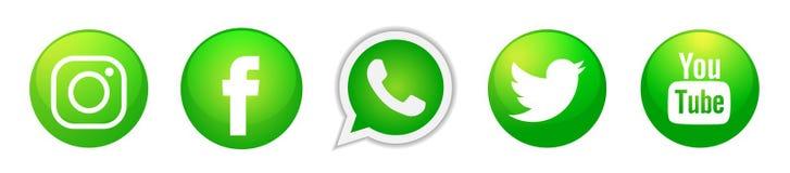 Fije de iconos sociales populares de los logotipos de los medios en vector verde del elemento de Instagram Facebook Twitter YouTu stock de ilustración