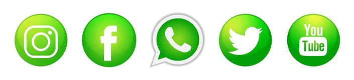 Fije de iconos sociales populares de los logotipos de los medios en vector verde del elemento de Instagram Facebook Twitter YouTu ilustración del vector