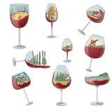 Fije de imágenes de copas de vino con un interior del paisaje Ilustraci?n del vector en el fondo blanco stock de ilustración