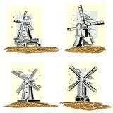 Fije de insignias simples de los molinoes de viento del color fotos de archivo