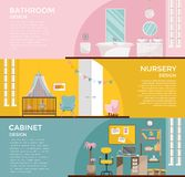 Fije de interiores gráficos coloridos del sitio: cuarto de baño con el cuarto de niños del retrete con el toldo, armario, Ministe libre illustration