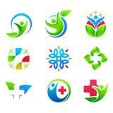 Fije de la atención sanitaria abstracta Logo Vector ilustración del vector