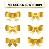 Fije de la cinta de oro del arco para la Navidad, el cumpleaños, el regalo, el aniversario, el etc stock de ilustración