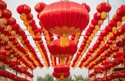 Fije de la circular china roja de las linternas Encontrado siempre en Chinatown, decoración por Año Nuevo asiático stock de ilustración
