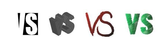 Fije de la competencia del símbolo CONTRA Contra letras del texto Ilustración del vector stock de ilustración