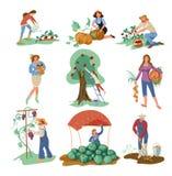 Fije de la gente que recoge la comida natural del eco de jardín ilustración del vector