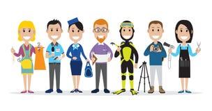 Fije de la gente relacionada con las diversas profesiones ilustración del vector