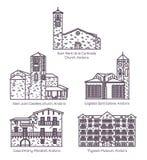 Fije de la línea aislada iglesia y castillo de Andorra stock de ilustración