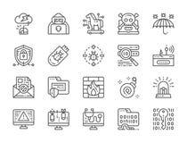 Fije de la línea cibernética iconos de la seguridad Agente del espía, caballo de Troya, criptografía y más stock de ilustración