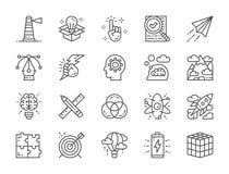 Fije de la línea creativa iconos Lista de control, avión de papel, innovación, batería y más stock de ilustración