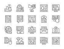 Fije de la línea en línea iconos de la educación Diploma, biblioteca, Webinar, hecho un podcast y más ilustración del vector