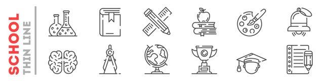 Fije de la línea fina iconos sobre la educación en la escuela, universidad, universidad aislada en blanco libre illustration