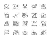 Fije de la línea iconos de la boda Cama nupcial, limusina, novia, novio y más stock de ilustración