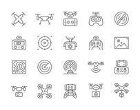 Fije de la línea iconos del abejón Control remoto, propulsor, cámara de la acción y más libre illustration