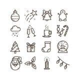 Fije de la línea iconos del arte en el tema de la Navidad y del Año Nuevo stock de ilustración