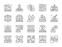 Fije de la línea iconos del trabajo en equipo Inicio, dirección, International Team y más stock de ilustración