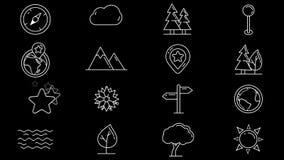 Fije de la línea iconos de objetos naturales stock de ilustración