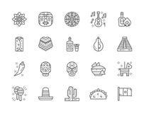 Fije de la línea mexicana iconos de la cultura Tequila, Burrito, poncho, agavo y más stock de ilustración