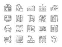 Fije de la logística y de la línea de entrega iconos Warehouse, cargo, envase y más libre illustration
