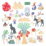 Fije de la mano 26 que dibuja símbolos egipcios del icono en estilo moderno minimalistic de moda stock de ilustración
