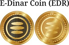 Fije de la moneda de oro física del E-dinar de la moneda (EDR) ilustración del vector