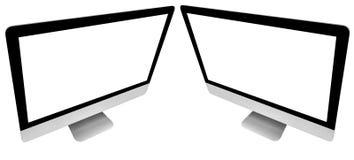 Fije de la PC de dos ordenadores port?tiles con mofa de la pantalla en blanco para arriba aislada en el fondo blanco Pantalla ais imagenes de archivo