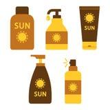 Fije de la protección solar y crema o aceite del bronceado Vector ilustración del vector