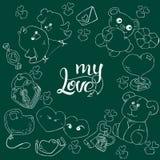 Fije de la tarjeta exhausta del día de tarjeta del día de San Valentín de los elementos del amor del garabato de la mano, etiquet ilustración del vector