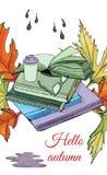 Fije de la tinta exhausta y del bosquejo coloreado con los libros, hoja de la mano del otoño stock de ilustración