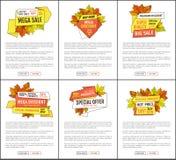 Fije de la venta mega Autumn Fall Price Off Coupons ilustración del vector