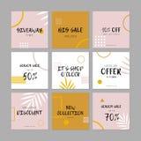 Fije de las banderas sociales de la web de los medios para las compras, venta, promoción del producto ilustración del vector