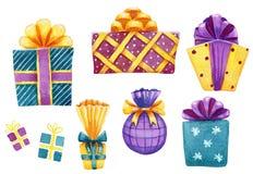 Fije de las cajas de regalo coloridas de la acuarela aisladas en blanco stock de ilustración
