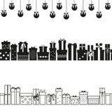 Fije de las cajas de regalo para la bandera horizontal ilustración del vector