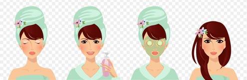 Fije de las etapas de Skincare Cuidado de la muchacha y proteger la cara stock de ilustración