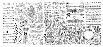 Fije de las fronteras de los divisores de la p?gina del dibujo de la mano y la flecha, garabatea elementos del dise?o floral stock de ilustración