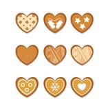 Fije de las galletas del jengibre en la forma de corazón ilustración del vector