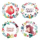 Fije de las guirnaldas decorativas del primavera-verano para las banderas y las tarjetas Venta del verano Día del ` s de la mujer stock de ilustración