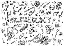 Fije de las herramientas de la arqueología, equipo de la ciencia, artefactos Fósiles excavados y huesos antiguos Bosquejo dibujad ilustración del vector