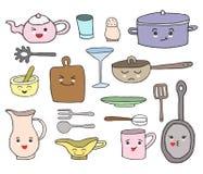 Fije de las herramientas de la cocina con las caras del kawaii de la historieta y diversas emociones ilustración del vector