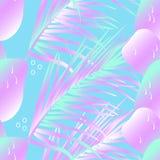 Fije de las hojas de plantas tropicales y de frutas en colores de ne?n de moda Palmera, mango y coco incons?tiles del modelo ilustración del vector