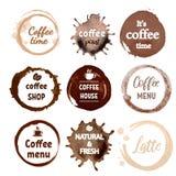 Fije de las letras manuscritas e impresas para la cafetería ilustración del vector